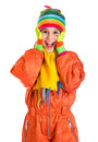 Amazed girl in sports overalls orange winter isolated on white Royalty Free Stock Photos