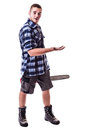 Amazed Lumberjack Royalty Free Stock Photo