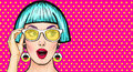 Amazed Pop Art girl in glasses. Party invitation.Birthday card.Comic woman.Sexy girl. Royalty Free Stock Photo