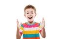 Amazed or surprised child boy showing large size Royalty Free Stock Photo
