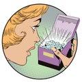 Amazed woman opening jewelry gift box. Stock illustration.