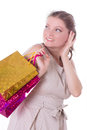 Amazed woman with shopping bags isolated on white sales concept Royalty Free Stock Images