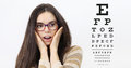 Amazement female face with spectacles on eyesight test chart