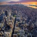 Amazing aerial view of Manhattan with sunset
