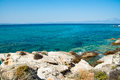Amazing beach greece sarti background Stock Images