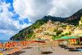 Amazing beach in Positano on Amalfi coast, Campania, Italy Royalty Free Stock Photo