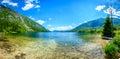 Amazing beautiful lake Bohinj in Slovenia view from Ukanc. Royalty Free Stock Photo