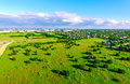 Amazing Bird`s eye view over Ranch farm land in Texas Hill Country Austin Texas Royalty Free Stock Photo