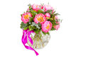 Amazing bouquet of pink pions isolated on white Stock Image