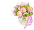 Amazing bouquet of pink pions isolated on white Royalty Free Stock Images