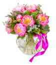 Amazing bouquet of pink pions on white background Royalty Free Stock Photos