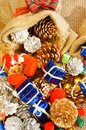 Amazing christmas background colorful xmas material eve decorate to decorative for season classic style from pine cone blue gift Royalty Free Stock Photography