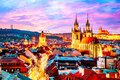 Amazing cityscape view of Prague Castle and church of our Lady Tyn, Czech Republic during sunset time Royalty Free Stock Photo