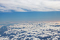 Amazing cloudy sky view from airplane window Royalty Free Stock Photography