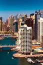 Amazing colorful dubai marina skyline during sunny day, Dubai, United Arab Emirates.