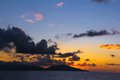 Amazing colorful sunset in seychelles on an exotic beach Stock Photography