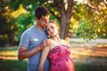 Amazing couple portraits man and girl in nature Royalty Free Stock Photography