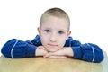 Amazing eyes boy with round and isolated on white background Royalty Free Stock Photography