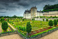 Amazing famous castle of Villandry, Loire Valley, France, Europe Royalty Free Stock Photo