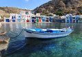 Amazing greece pictorial island romantic fishing village with multi coloured houses Royalty Free Stock Photo