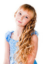 Amazing hairs teen girl isolated on white Royalty Free Stock Photography
