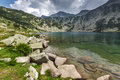Amazing Landscape of Banderishki Chukar Peak and The Fish Lake, Pirin Mountain Royalty Free Stock Photo