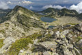 Amazing landscape of Kremenski lakes from Dzhano peak, Pirin Mountain Royalty Free Stock Photo