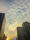 Amazing mammatus clouds over Bangkok, Thailand, with tall buildi Royalty Free Stock Photo