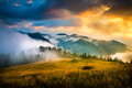 Amazing mountain landscape with fog Royalty Free Stock Photo