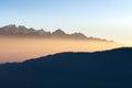 Amazing mountain sunrise landscape in Himalayas. Royalty Free Stock Photo