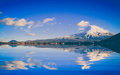 Amazing Mt. Fuji, Japan with the reflection on the on water at L Royalty Free Stock Photo
