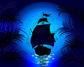 Amazing night landscape with sailing ship at sea