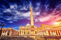 Amazing panorama Saint Peter Square and Saint Peter Basilica at sunset, Vatican City, Rome, Italy Royalty Free Stock Photo