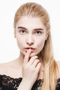 Amazing portrait of a beautiful young woman blond hair with perfect skin closeup Royalty Free Stock Photo