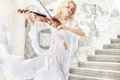 Amazing portrait of the female musician pretty Royalty Free Stock Images