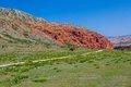 Amazing red rock formations in kirghizia tien shan mountains of Stock Photography