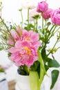 Amazing rose tulips in vase bouquet Royalty Free Stock Photos