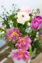 Amazing rose tulips in vase bouquet Stock Images