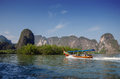 Amazing scenery of national park in phang nga bay with tourist b boat thailand Stock Photography