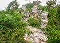 Amazing shape of natural old stone many million year ago built at pa hin ngam national park chaiyaphum province thailand Stock Photo