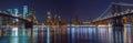 Amazing shot of the Manhattan Bridge at night Royalty Free Stock Photo