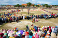 Amazing show crowded colorful public stadium phan rang viet nam oct at in kate carnival panorama group of vietnamese woman in Stock Photo