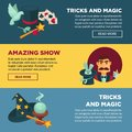 Amazing show with tricks and magic internet promotional posters set Royalty Free Stock Photo