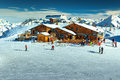 Amazing ski resort in the Alps,Les Menuires,France,Europe Royalty Free Stock Photo