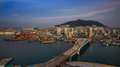 Amazing skyline of busan korea taken from from lotte department store observatory deck Stock Photography