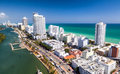 Amazing skyline of Miami South Beach, aerial view Royalty Free Stock Photo