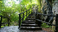 Amazing stone staircase fence tree scene at mekong delta rocky mountain old with rock with large trunk abstrack roof and big Stock Images