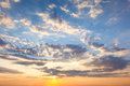Amazing Sundown Sky with Beautiful Clouds and Sunbeams Royalty Free Stock Photo