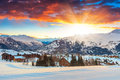 Amazing sunrise and winter landscape,Les Sybelles,France,Europe Royalty Free Stock Photo