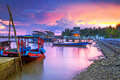 Amazing sunset at the harbor in Thailand Royalty Free Stock Image